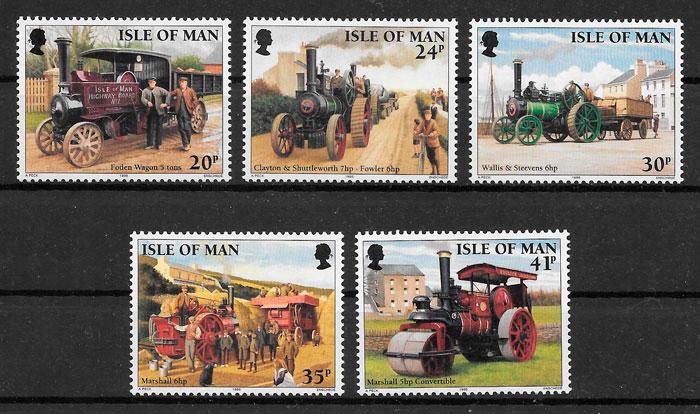 filatelia colección trenes Isla de Man 1995