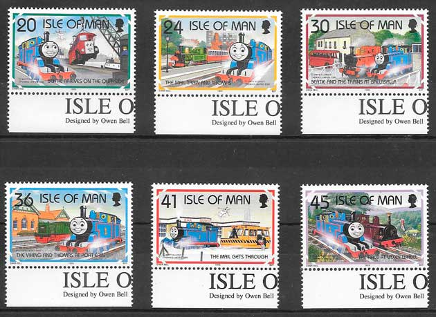 colección sellos trenes Isla de Man 1995