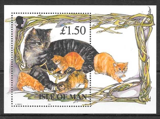 colección sellos gatos y perros Isla de Man 1996