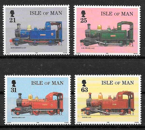 colección sellos trenes Isla de Man 1998