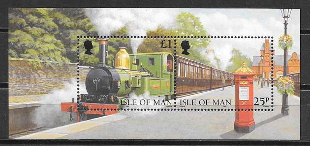 sellos trenes Isla de Man 1998