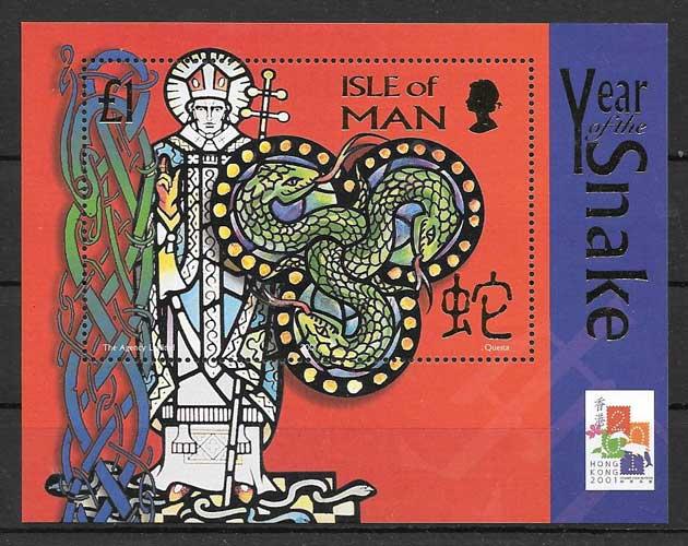 Filatelia sellos año lunar serpiente de isla de Man 2001