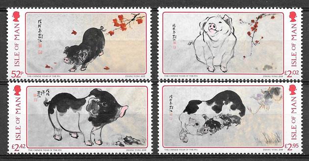 selos año lunar ISLA DE Man 2019
