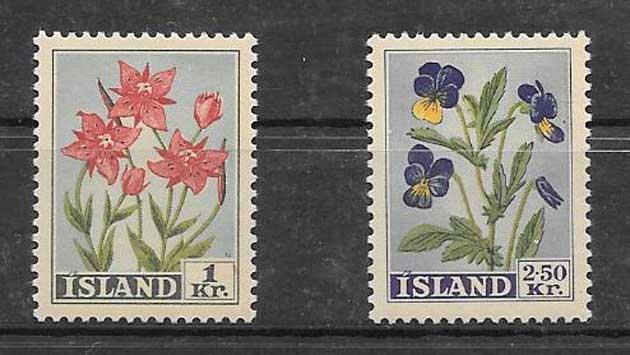 Colección Sellos Flora Islandia 1958