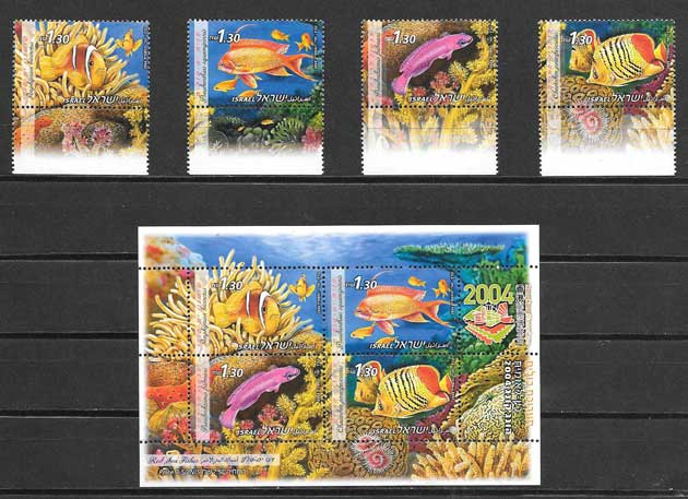 Estampillas fauna Israel 2004