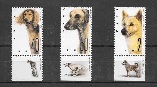Colección sellos serie de perros con viñetas Israel