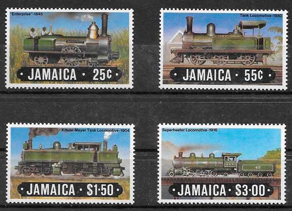 sellos colección trenes Jamaica 1984