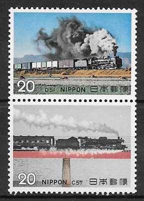 colección sellos trenes Japón 1974