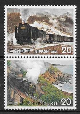 sellos colección trenes japón 1975