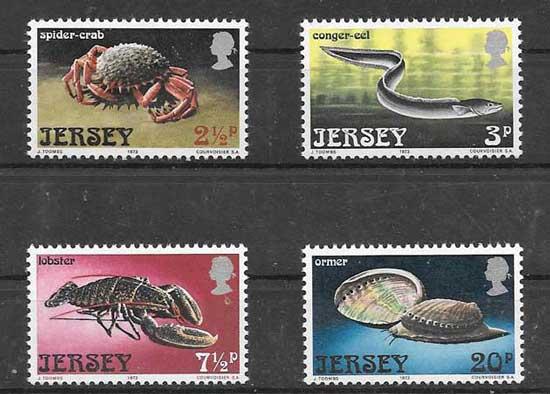 Estampillas fauna marina Jersey 1973