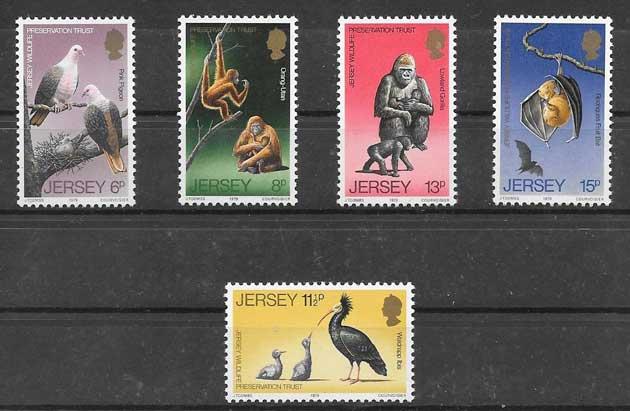 Filatelia sellos protección de la fauna Jersey