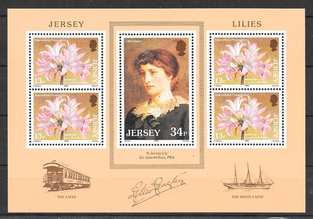 sellos flora Jersey 1986
