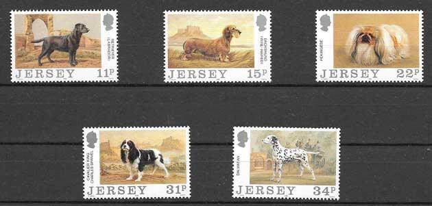 Colección sellos perros de raza de Jersey