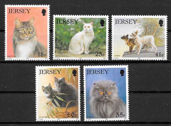filatelia gatos Jersey 1994