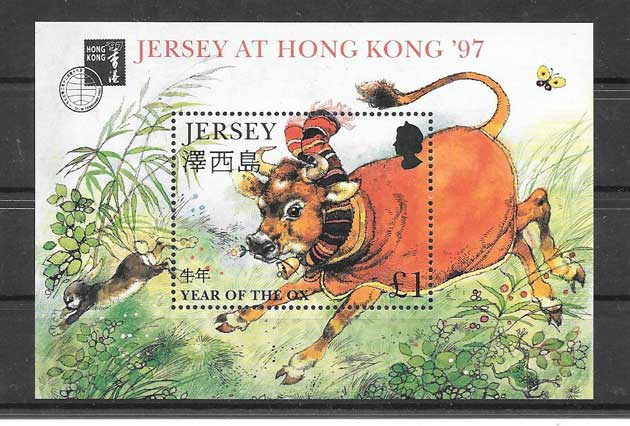 Colección sellos año chino lunar búfalo