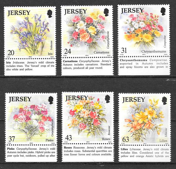 filatelia colección flora Jersey 1998