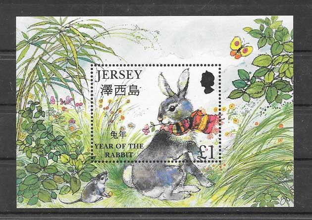 Colección sellos año lunar liebre