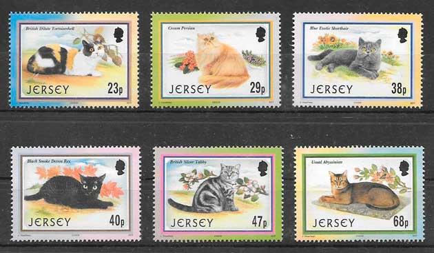 filatelia colección gatos y perros jersey 2002