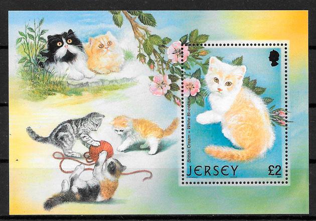 filatelia colección gatos Jersey 2002