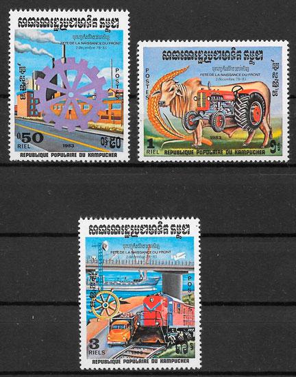 sellos trenes Kampuchea 1983