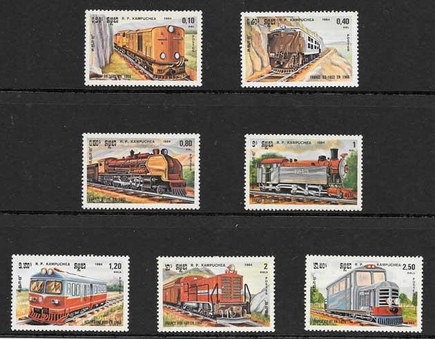 Colección sellos locomotoras de Kampuchea 1984