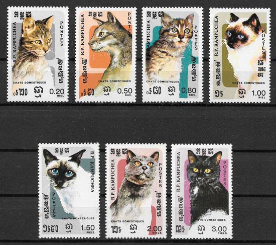 sellos gatos Kampuchea 1985