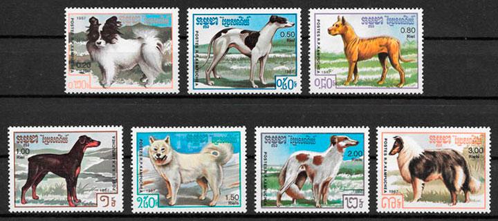 sellos gatos Kampuchea 1987