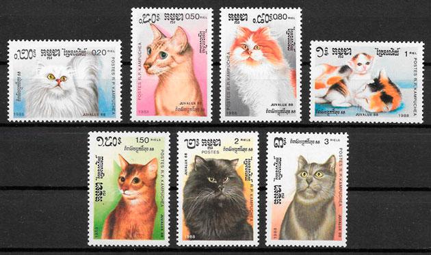 sellos gatos Kampuchea 1988