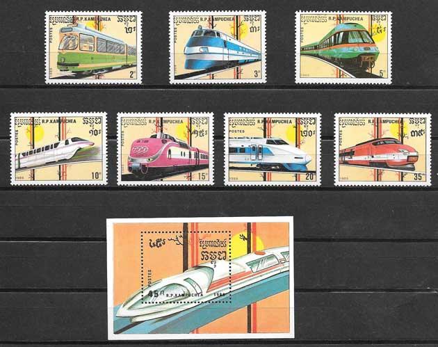 Colección sellos trenes de nacionalidades diversas