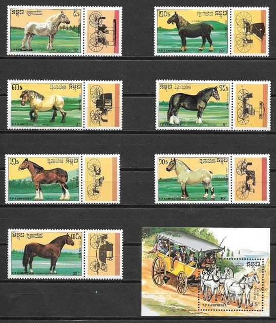sellos fauna Kampuchea 1989