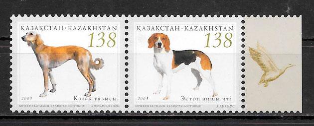 sellos gatos y perros Kazakstán 2005