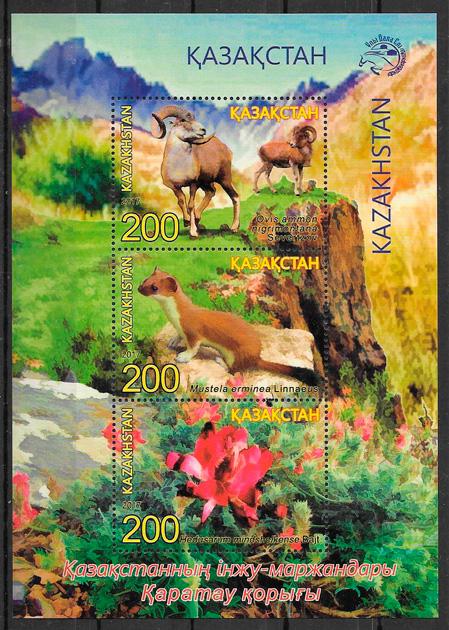 filatelia flora y fauna Kazakstán 2017