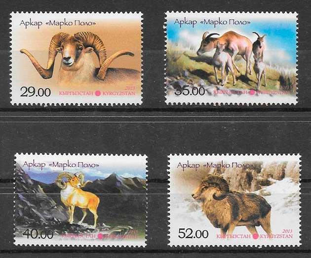 filatelia colección fauna Kirghistan 2014