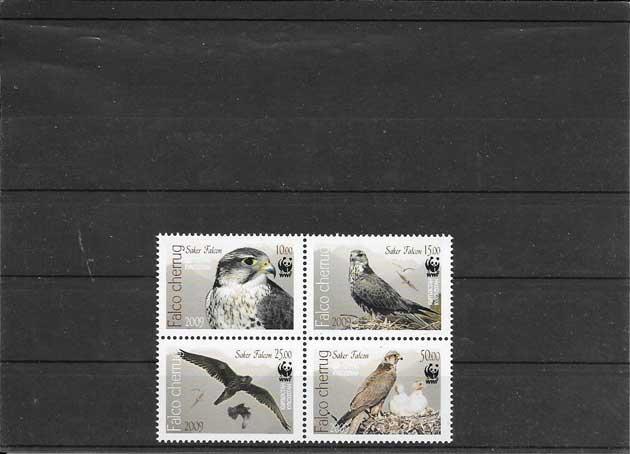 Filatelia Sellos serie de fauna - aves rapaces