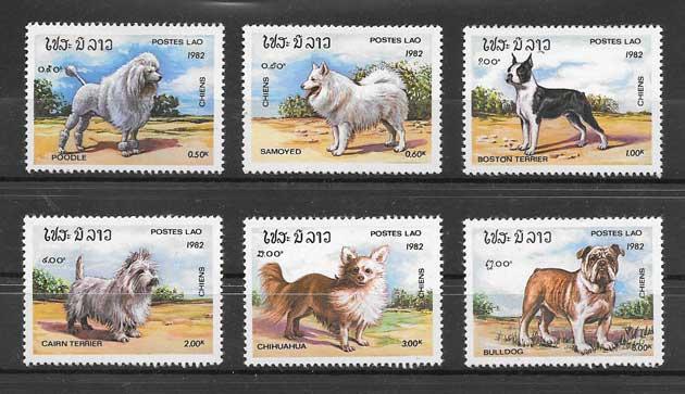 Sellos diversidad de perros Laos 1982