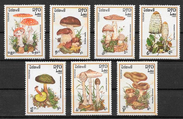 sellos setas Laos 1985