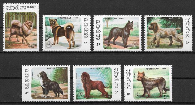 filatelia colección perros Laos 1986