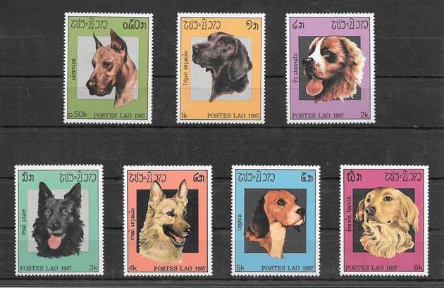 Filatelia sellos perros de razas 1987