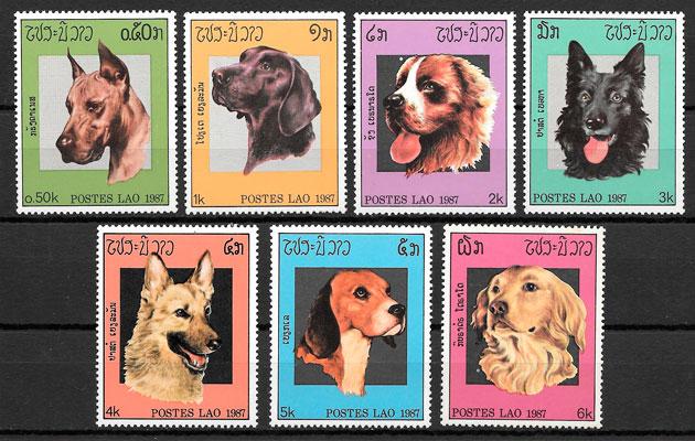 sellos perros Laos 1987