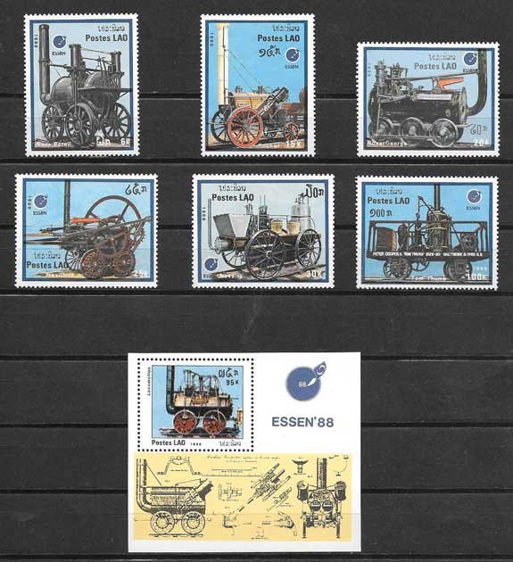 Colección sellos transporte ferroviario antiguo de Laos 1988