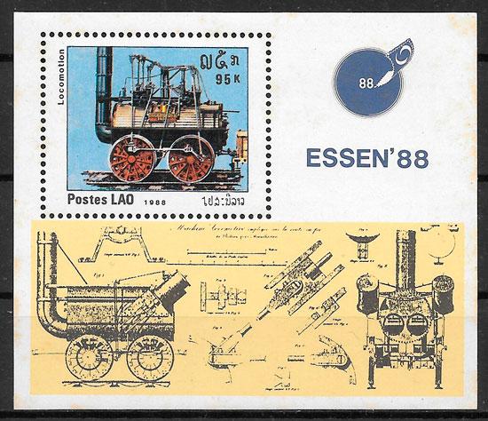 colección sellos trenes Laos 1988