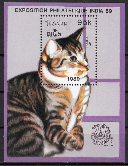 filatelia gatos Laos 1989