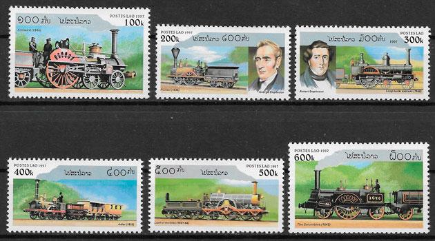 sellos trenes Laos 1997