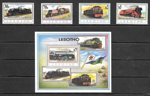 Colección sellos locomotoras Lesotho