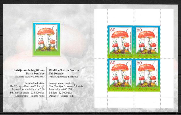 sellos setas Letonia 2008