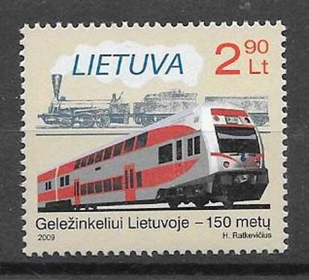 Filatelia trenes Lituania 2009