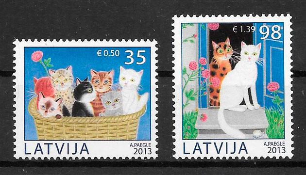 sellos gatos Letonia 2013