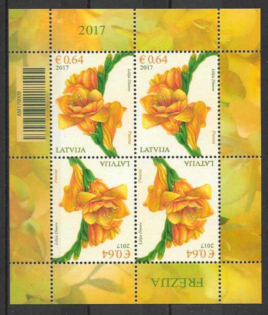 filatelia colección flora Letonia 2017