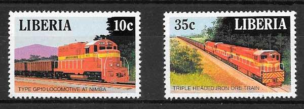 filatelia trenes Liberia 1988