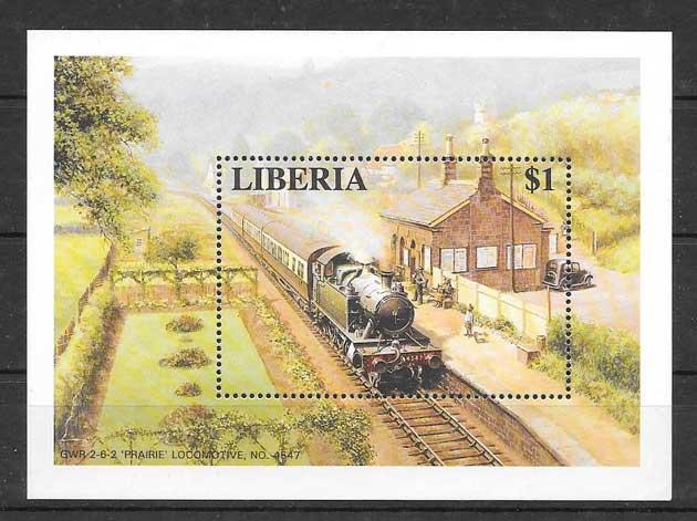 Colección sellos trenes y locomotoras de Liberia